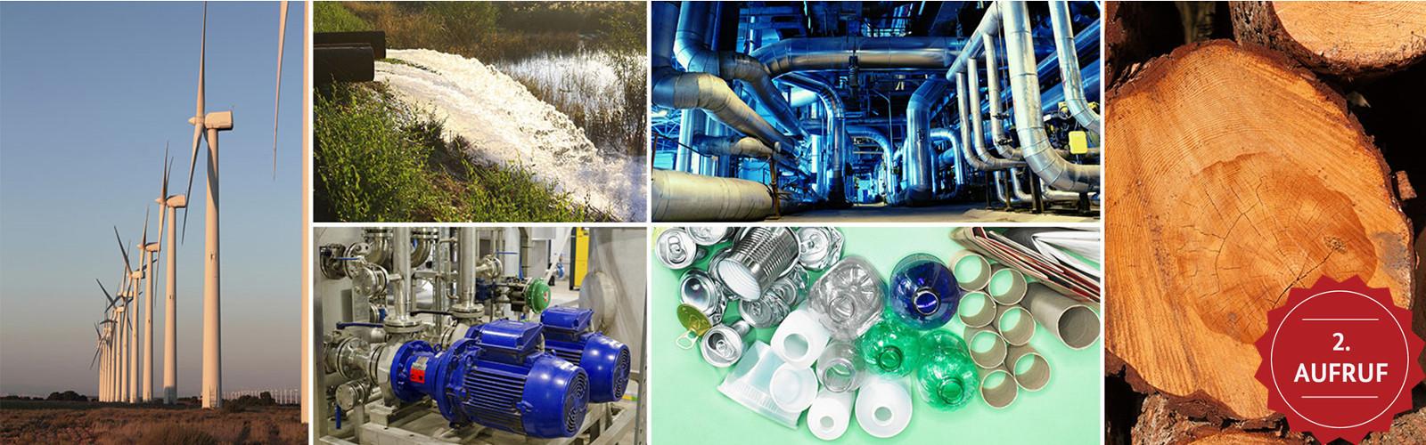 Zu sehen ist eine Collage : Windräder, Kanalisationsabflüsse, Turbinen, Pipelines, kreisförmig angeordnete Recyclingmaterialien, Baumstämme.